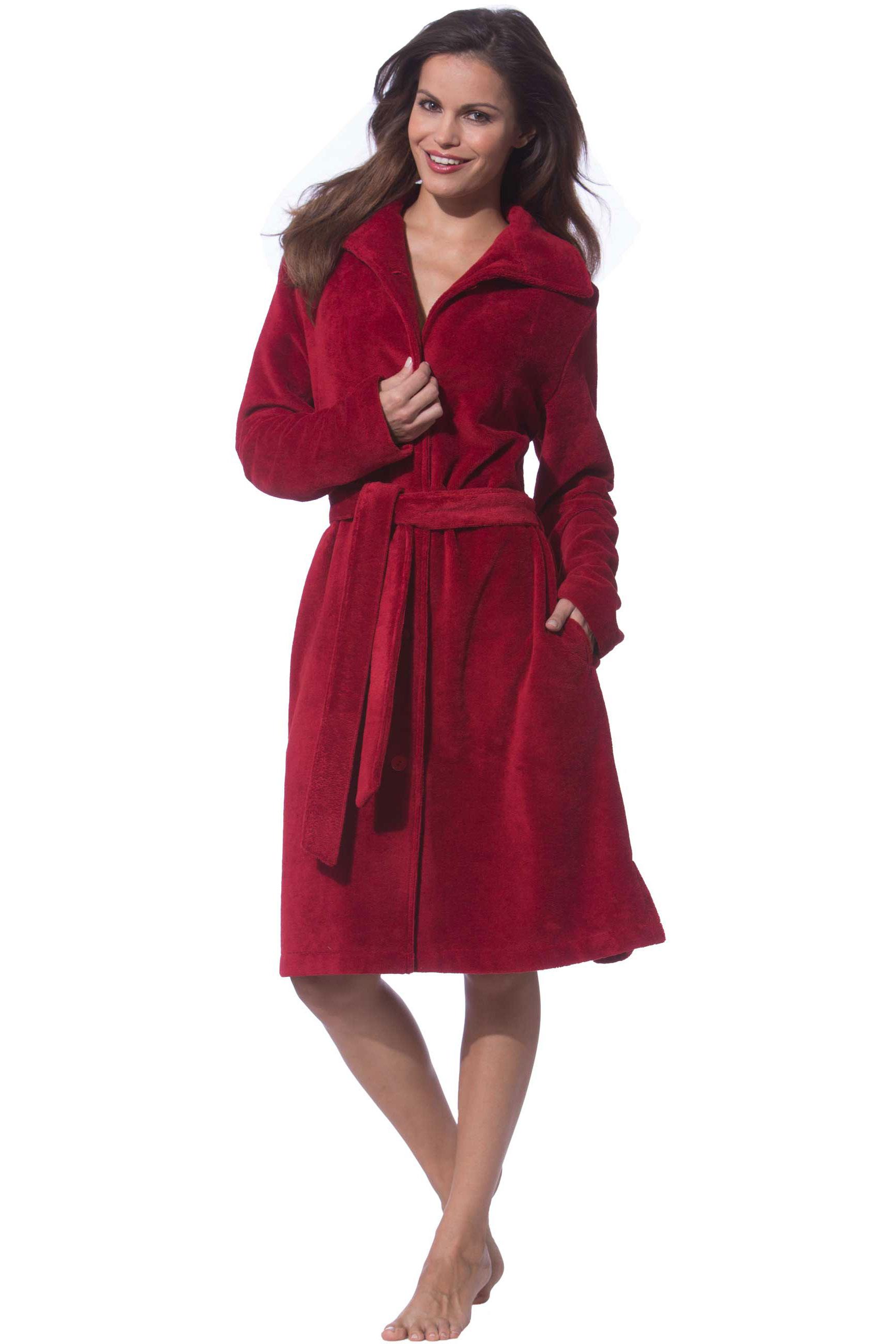 morgenmantel damen mit kn pfen rot morgenstern. Black Bedroom Furniture Sets. Home Design Ideas
