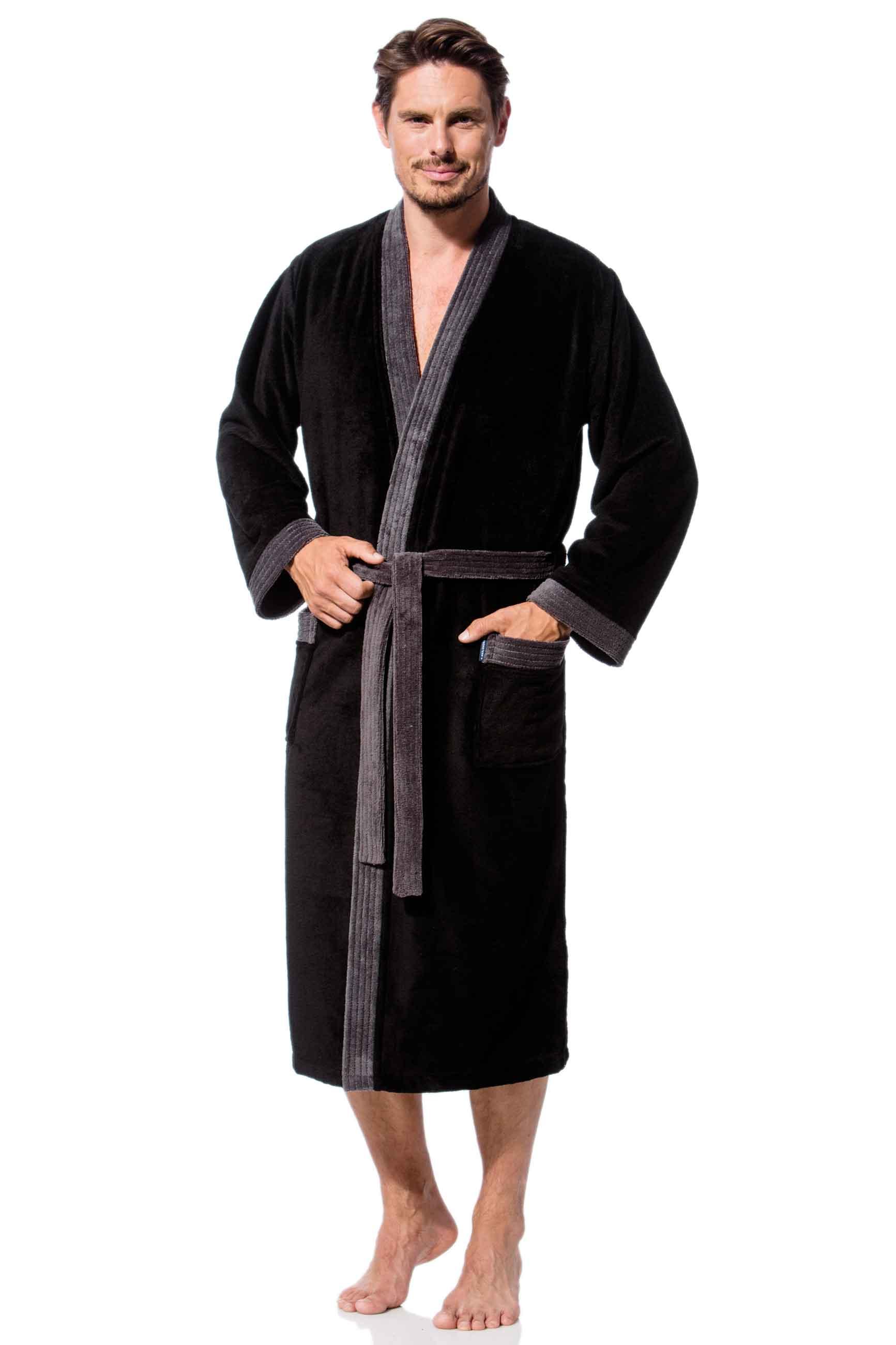 herren bademantel kimono in schwarz morgenstern. Black Bedroom Furniture Sets. Home Design Ideas