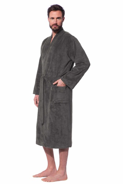Morgenstern Bademantel Herren Kimono, Multifaser, Adam, anthrazit