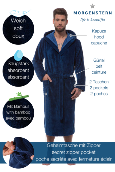 Morgenstern Bademantel Herren Kapuze, Multifaser, Marc, marineblau