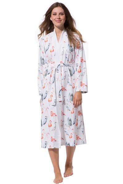 166eaa95bbd271 Morgenmantel Damen Kimono, Skylight leicht, Flamingo, bunt
