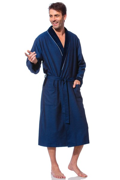 luxus morgenmantel herren blau etorio bademantel24 shop. Black Bedroom Furniture Sets. Home Design Ideas