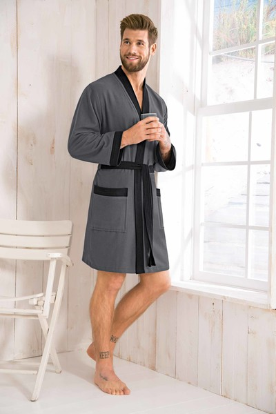 Morgenstern Bademantel Herren Kimono, leicht, Skylight, Luke, anthrazit