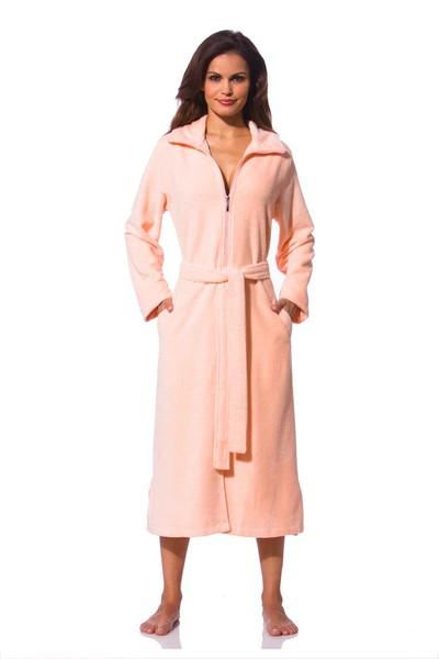 Damen Bademantel Reißverschluss apricot - Morgenmantel - Shop