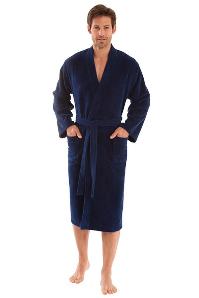 Morgenstern Bademantel Herren Kimono, Multifaser, Adam, marineblau
