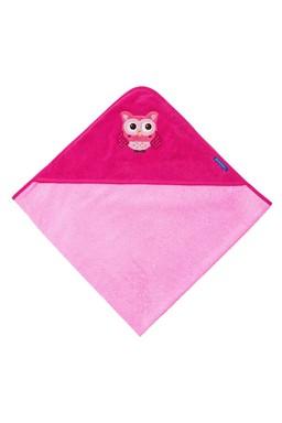 Morgenstern Kapuzentuch mit niedlicher Eulen Stickerei, 100x100 in Farbe rosa, 100% Baumwolle